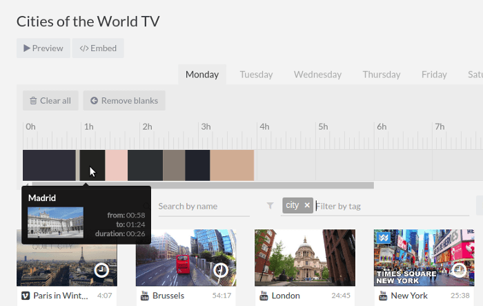 Adding videos in the scheduler grid