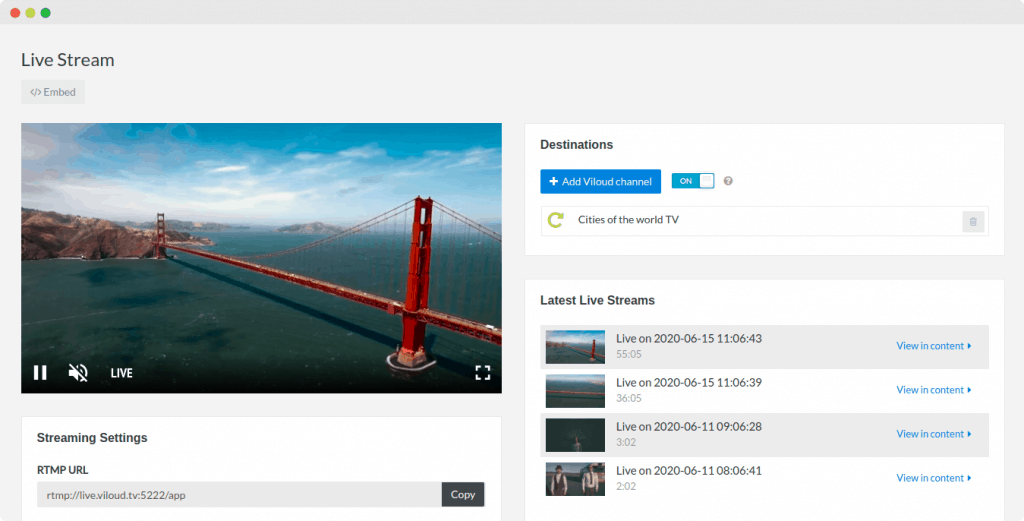 Live streaming example image